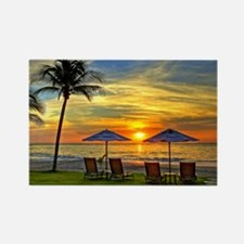 Sunset & Palm Trees Rectangle Magnet