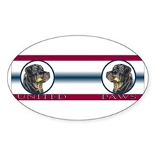 Rottie United Paws Oval Decal