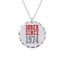 Sober Since 1974 Necklace Circle Charm