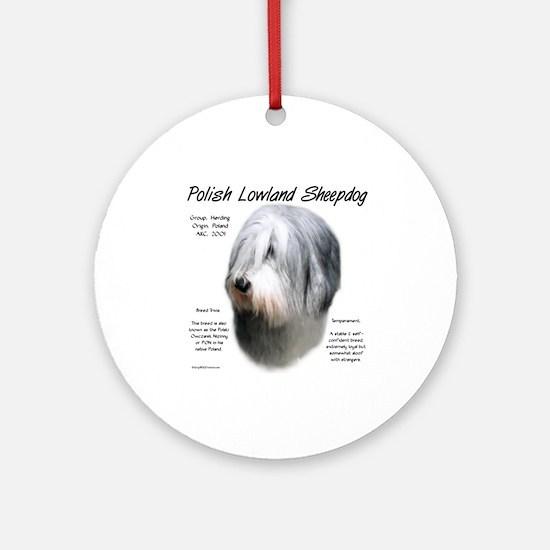 Polish Lowland Sheepdog Round Ornament