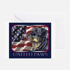 Rottweiler United Paws Flag Greeting Cards (Packag