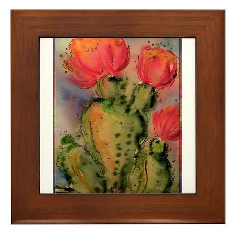 Cactus! Bright southwest art! Framed Tile