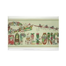 Christmas Papillons and Phalenes Rectangle Magnet