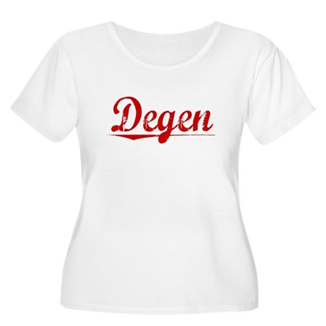 Degen, Vintage Red Women's Plus Size Scoop Neck T-
