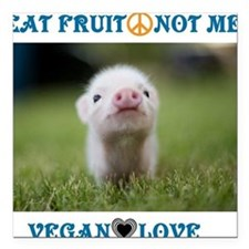 "Vegan Love Square Car Magnet 3"" x 3"""