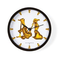 Blown Gold M Wall Clock