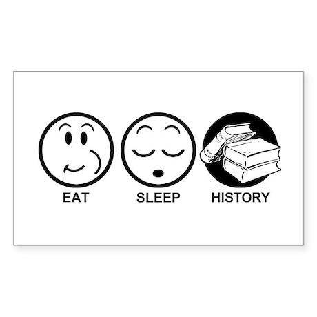 Eat Sleep History Sticker (Rectangle)