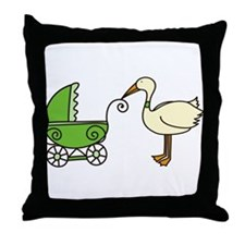 Stork With Stroller Throw Pillow