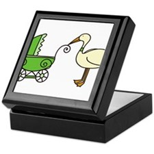 Stork With Stroller Keepsake Box