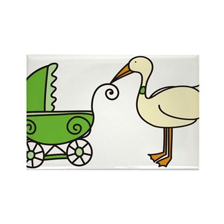 Stork With Stroller Rectangle Magnet