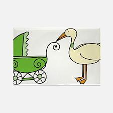 Stork With Stroller Rectangle Magnet