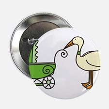 """Stork With Stroller 2.25"""" Button"""