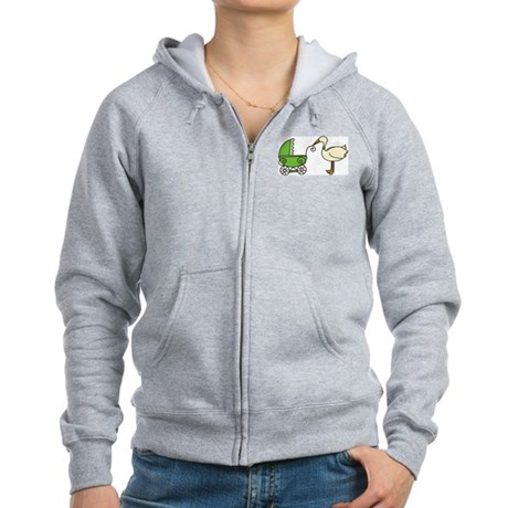 Stork With Stroller Women's Zip Hoodie