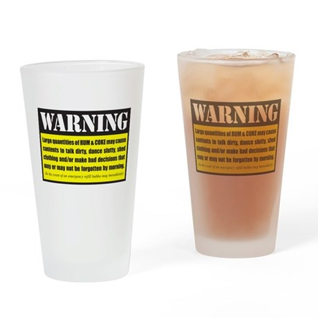 Warning rum coke drinking glass by listing store 72575926 for White rum with coke