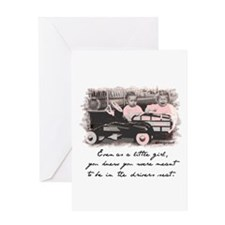 Little Girl and Firetruck Greeting Card