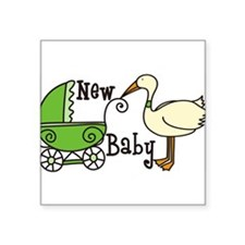 "New Baby Square Sticker 3"" x 3"""