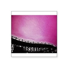 "Roller Coaster in Pink Square Sticker 3"" x 3"""