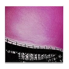 Roller Coaster in Pink Tile Coaster