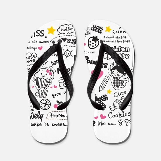 Images and Words Flip Flops