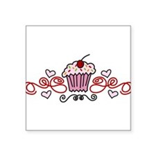 "Cupcake Square Sticker 3"" x 3"""