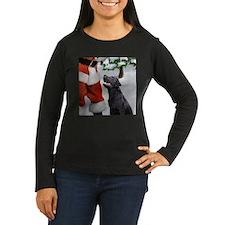 black lab and santa square Long Sleeve T-Shirt