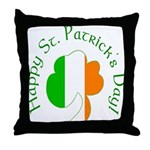 Irish Tricolor Shamrock Throw Pillow