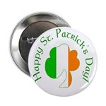 Irish Tricolor Shamrock Buttons (10 pack)
