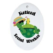 Retired Social Worker Gift Ornament (Oval)