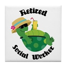 Retired Social Worker Gift Tile Coaster