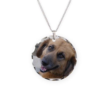 Mixed Up Puppy Necklace Circle Charm
