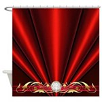 Red Pleated Diamond Scroll Shower Curtain