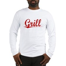 Grill, Vintage Red Long Sleeve T-Shirt
