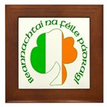 Gaelic Tricolor Shamrock Framed Tile