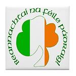 Gaelic Tricolor Shamrock Tile Coaster