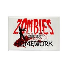 Zombies Ate My Homework Rectangle Magnet