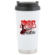 Zombies Ate My Homework Travel Coffee Mug