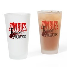 Zombies Ate my Homework Drinking Glass
