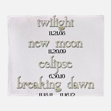 Twilight Saga Movie Dates Throw Blanket