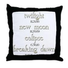 Twilight Saga Movie Dates Throw Pillow