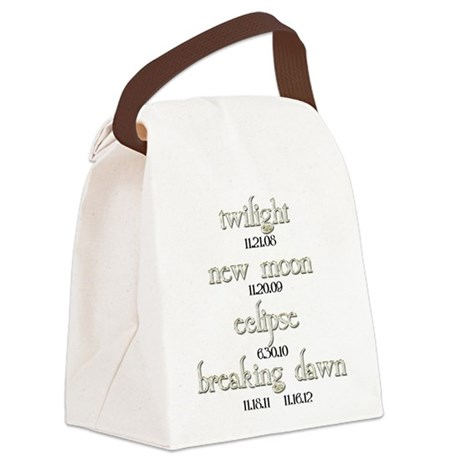 Twilight Saga Movie Dates Canvas Lunch Bag