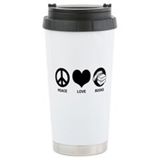 Peace Love Books Travel Mug