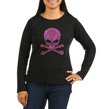 Pink Rhinestone Skull and Crossbones Long Sleeve T