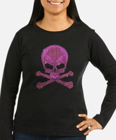 Pink Rhinestone Skull and Crossbones Long Sleeve T