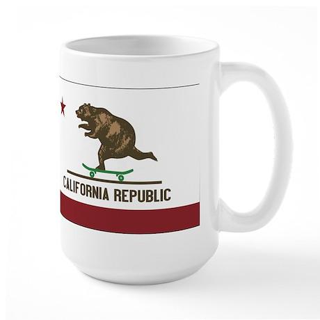 California Skateboarding Bear Flag Large Mug