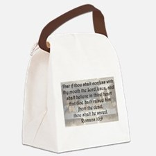 Romans 10:9 Canvas Lunch Bag