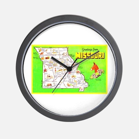 Missouri Map Greetings Wall Clock