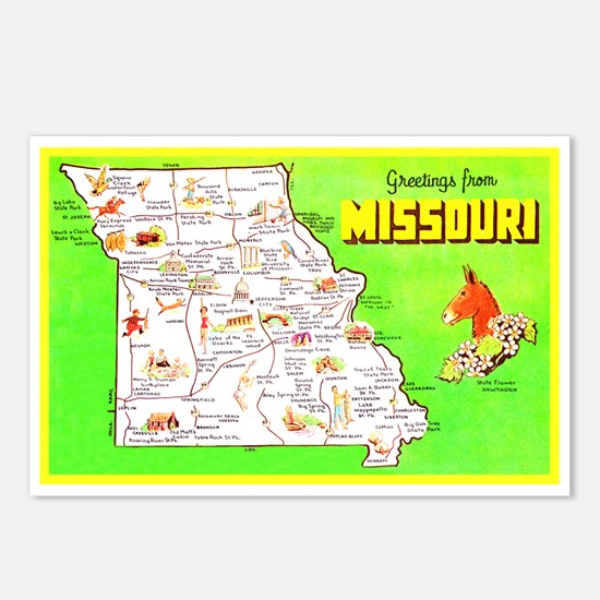 Missouri Map Greetings Postcards (Package of 8)