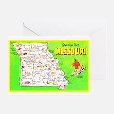 Missouri Map Greetings Greeting Card