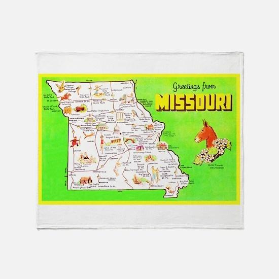 Missouri Map Greetings Throw Blanket