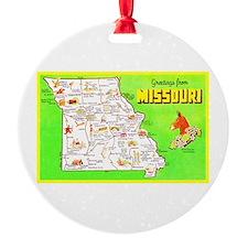 Missouri Map Greetings Ornament